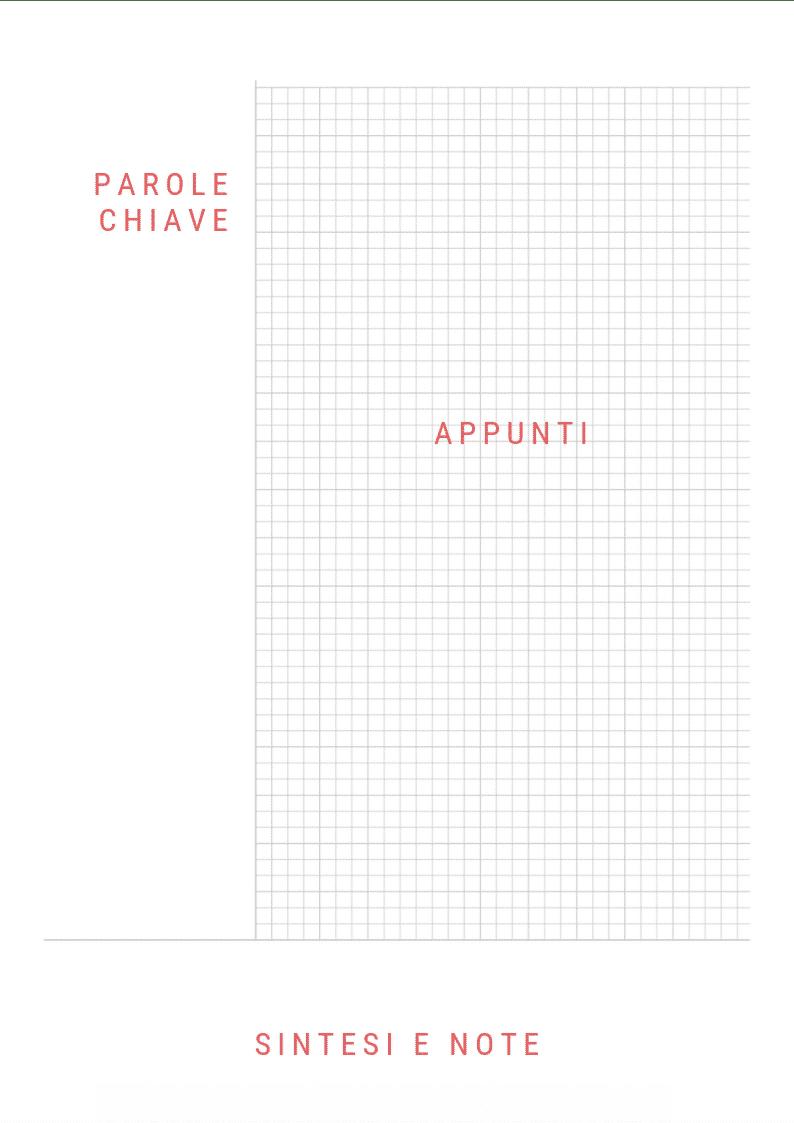 Esempio di foglio per il metodo Cornell